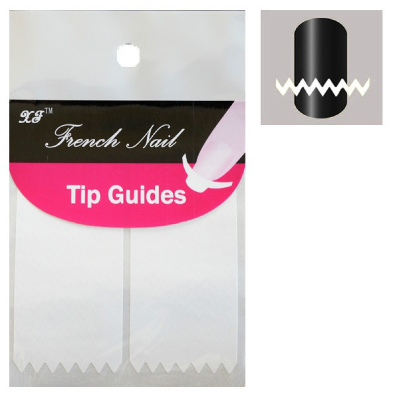 French Nail Tip Guides, Zig Zag Sheet A