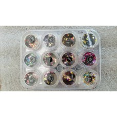 Shiny Round Sequins Nail Art Decoration, 12 Colors